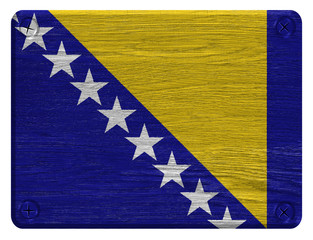 Bosnia and Herzegovina flag painted on wooden tag