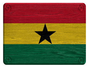 Ghana flag painted on wooden tag