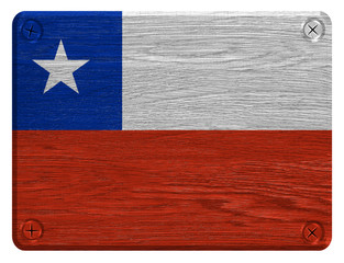 Chile flag painted on wooden tag