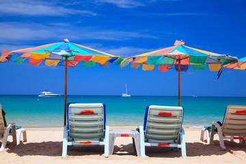 Beach chair on the beach, Phuket, Thailand