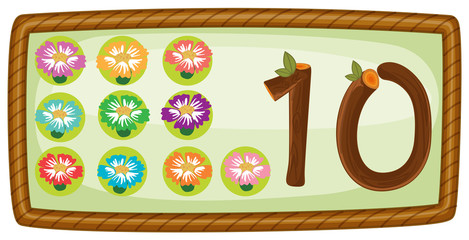 A rectangular template with ten flowers