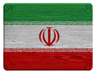 Iran flag painted on wooden tag