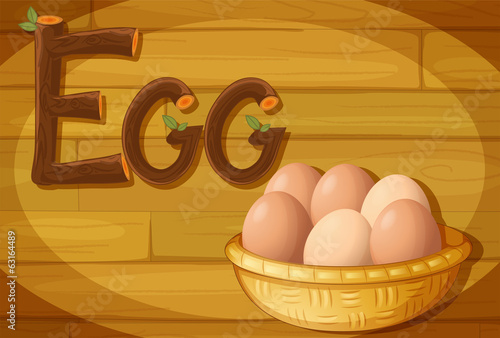 A frame with a basket of eggs