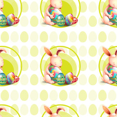 A seamless design with bunnies hugging the eggs