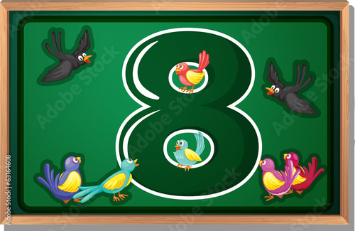 A frame with eight birds
