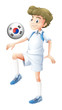 A man using the ball with the flag of South Korea