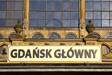 Details of building of Railway station in Gdansk, Poland
