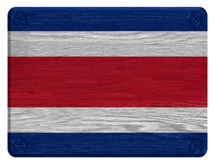 Costa Rica flag painted on wooden tag