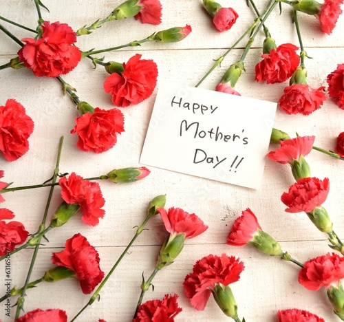 """Mothers day""message card on red carnations background"