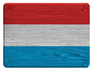 Luxembourg flag painted on wooden tag