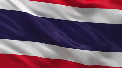 Flag of Thailand waving in the wind - seamless loop