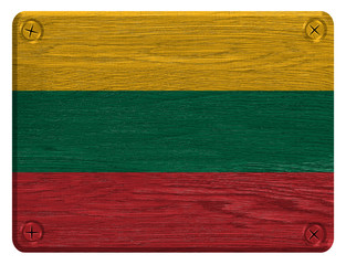 Lithuania flag painted on wooden tag