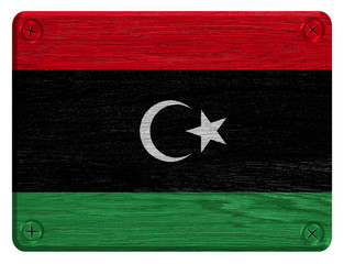 Libya flag painted on wooden tag