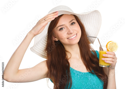 Young woman wearing summer hat
