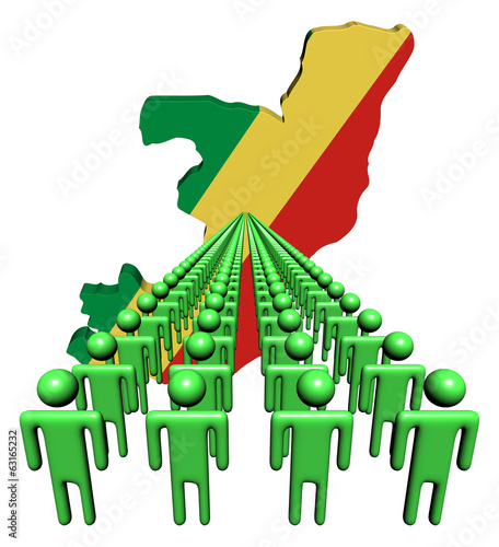 Lines of people with Republic of Congo map flag illustration