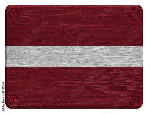 Latvia flag painted on wooden tag
