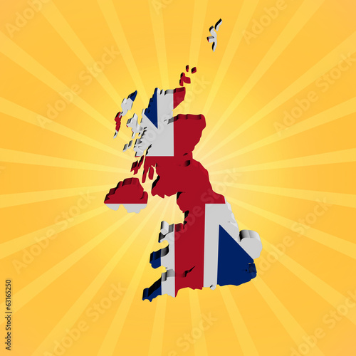 UK map flag on sunburst illustration