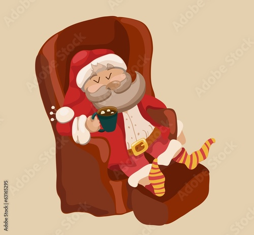 Funny Color Christmas background with Santa Claus resting in cha