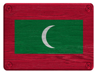 Maldives flag painted on wooden tag