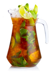 Fresh nonalcoholic cocktail with lime, apple and green mint leav