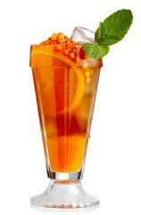 Fresh nonalcoholic cocktail with orange fruits and sea-buckthorn