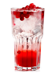Full glass of fresh cranberries nonalcoholic cocktail with berri