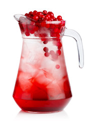 Full jug of fresh cranberries nonalcoholic cocktail with berries