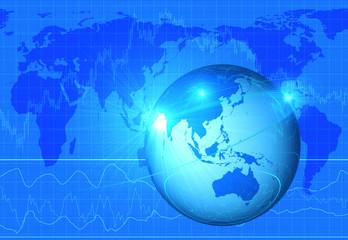 株価のグラフと地球儀