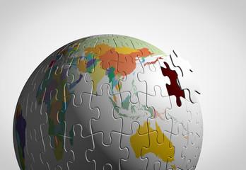 パズルの地球儀