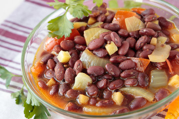 Bowl of stewed red beans with spices