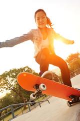 skateboarding at sunrise skate park