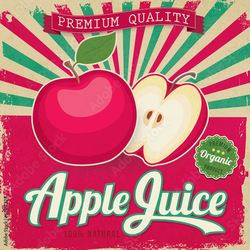 Colorful vintage Apple Juice label poster vector illustration