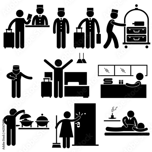 Hotel Services Receptionist Bellboy Housekeeper Worker Customer