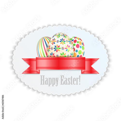 Label with colorful Easter eggs isolated on white background