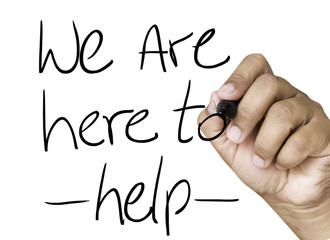 We are here to help hand writing on black marker