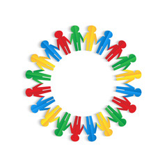 Colorful men of colored paper placed in a circle on a white back