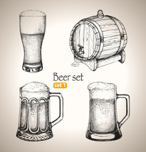 Cerveza Oktoberfest establece: jarras de Toby y barril de cerveza