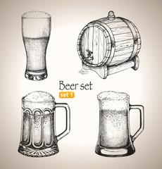 Beer Oktoberfest set: Toby jugs and beer barrel
