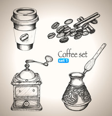 Coffee set: beans, mill, maker and cup