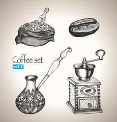 Coffee set: bean, bag, mill, cezve
