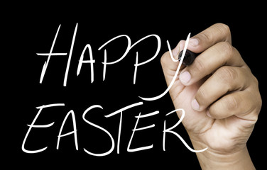Happy Easter hand writing on white marker