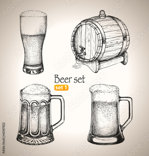 Beer Oktoberfest set: Toby jugs and beer barrel