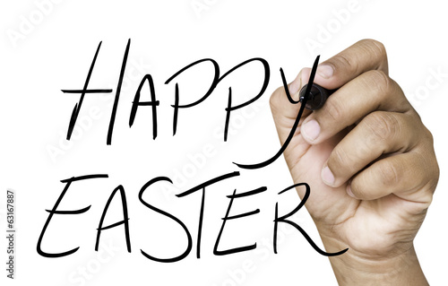 Happy Easter hand writing on black marker