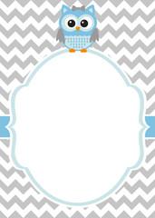 Baby boy invitation card with owl
