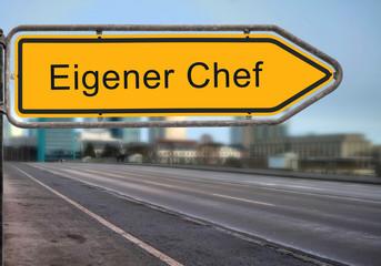 Strassenschild 14 - Eigener Chef