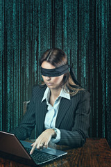 Blindfolded woman alone on the web