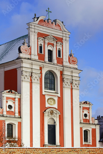 Baroque facade of the parish church in Poznan.