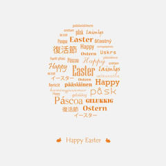 Easter card with greetings in various languages