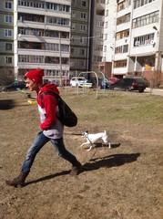 парень идет с собакой мимо детской площадки