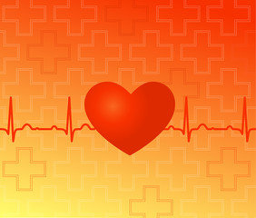 Medical vector background - red heart, ekg and crosses
